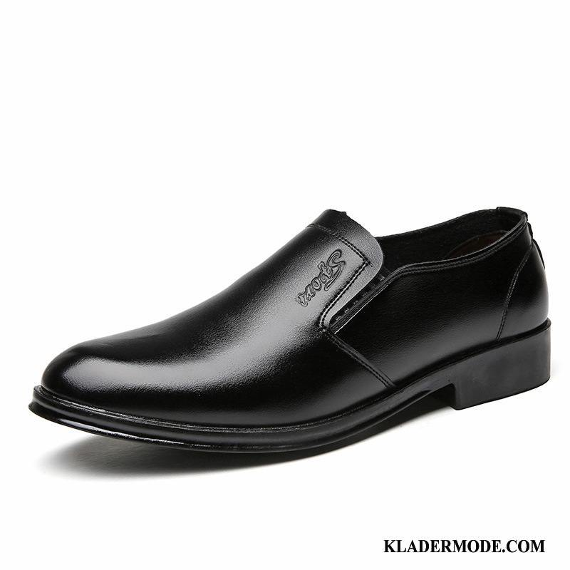 Loafers Herr Casual Trend Klänning Läderskor Business British Svart