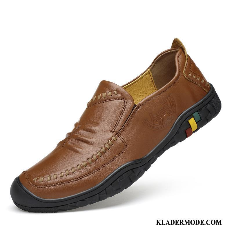 Loafers Herr Mode Platta Läder Business Trend Casual Brun
